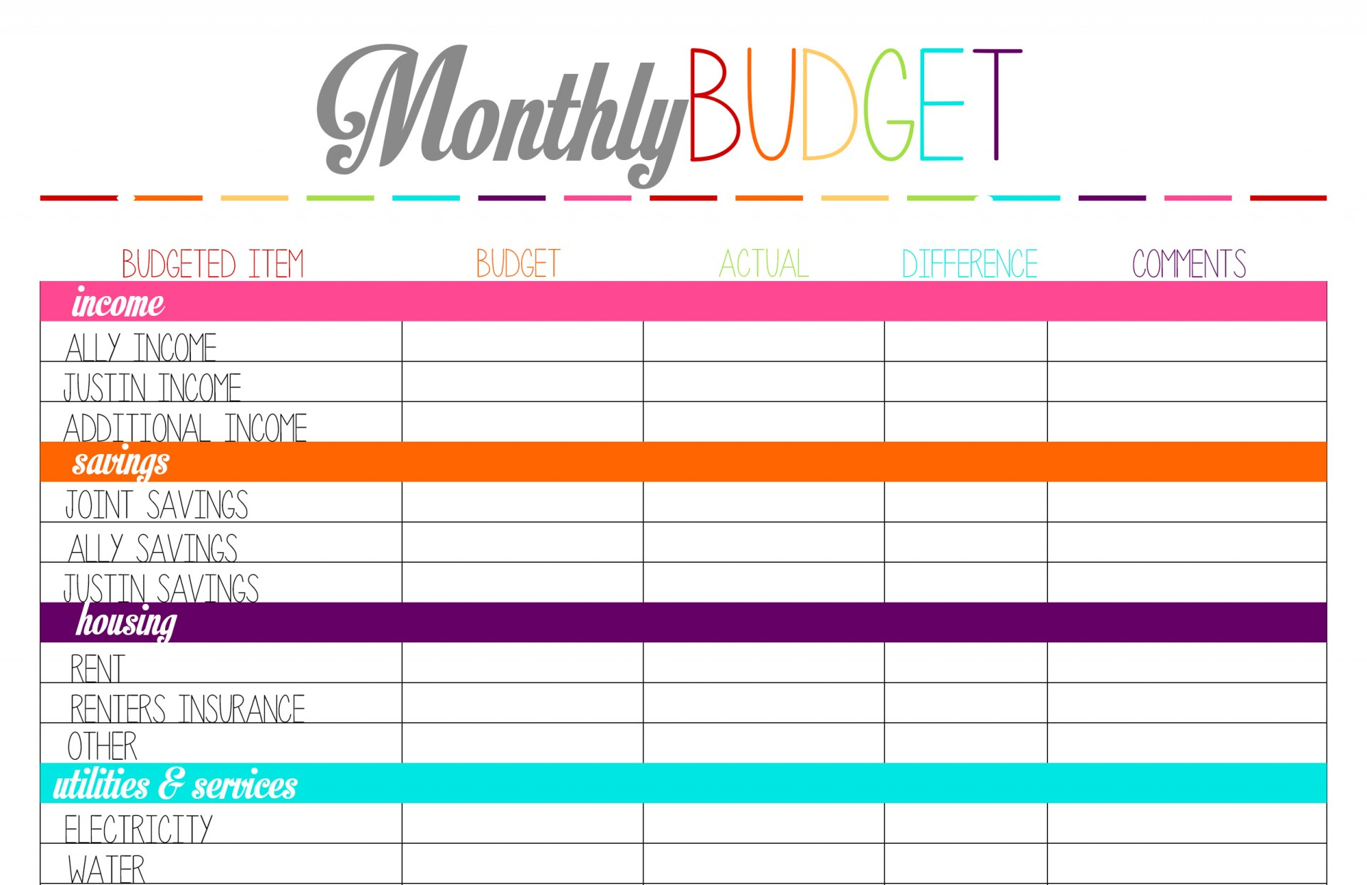 017 Free Printable Budget Worksheet Template 94771 Monthly Templates | Printable Budget Worksheet