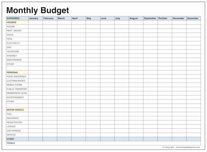 Free Printable Home Budget Worksheet