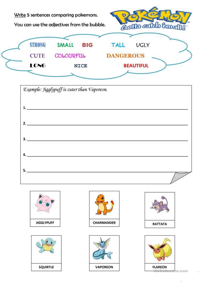 10 Free Esl Pokemon Worksheets   Pokemon Worksheets Printable