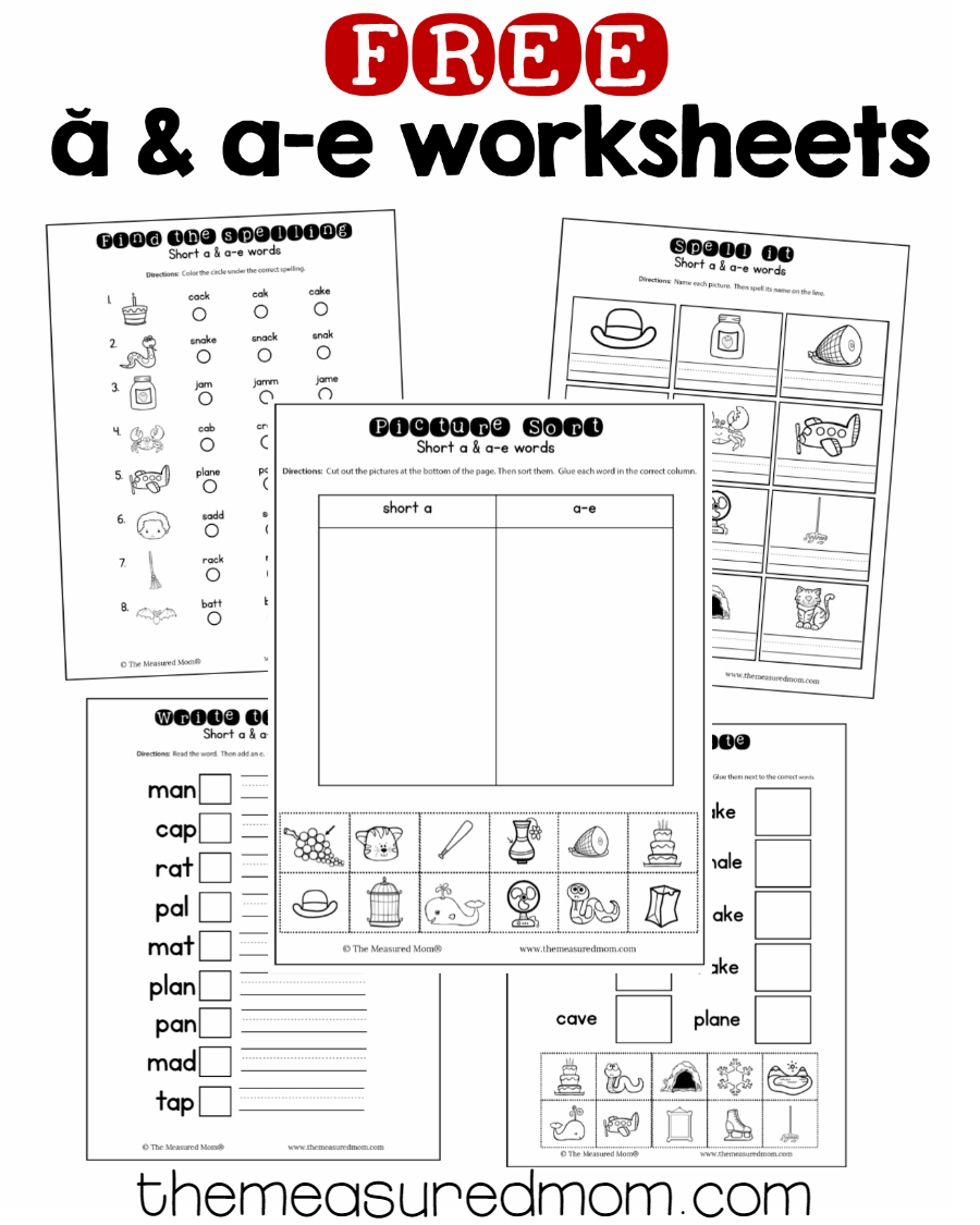 10 Free Short A & A-E Worksheets - The Measured Mom   Magic E Worksheets Free Printable