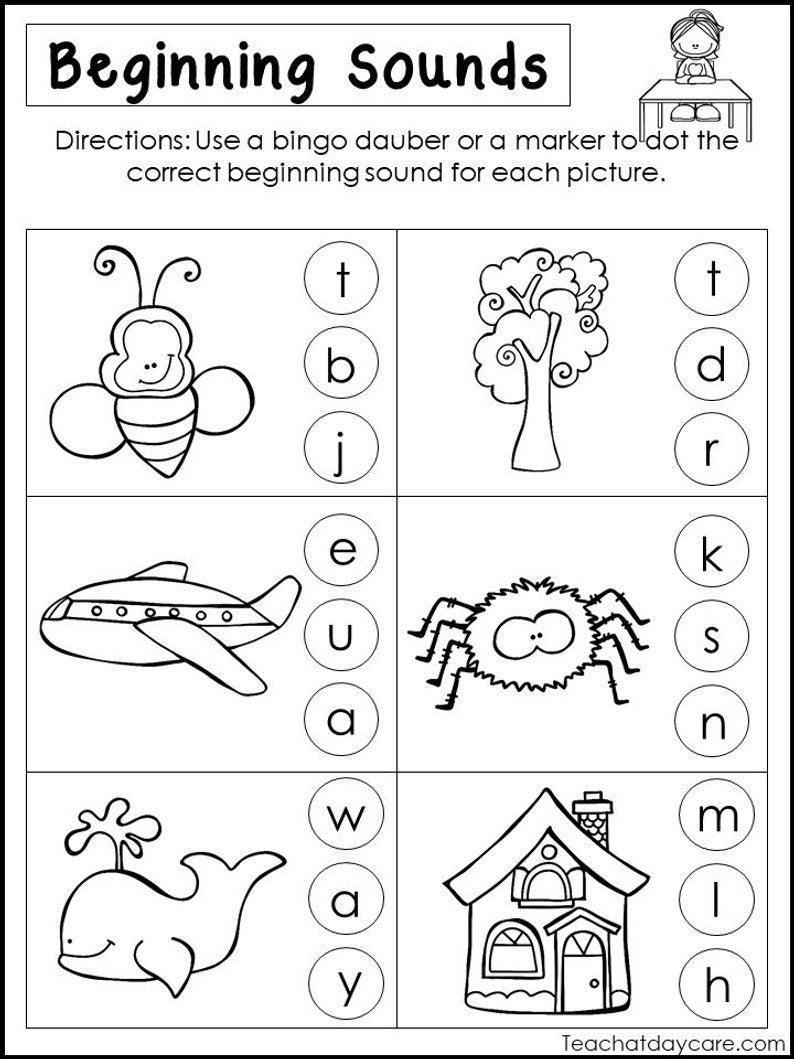 10 Printable Beginning Sounds Worksheets. Preschool-1St Grade | Etsy | Printable Beginning Sounds Worksheets