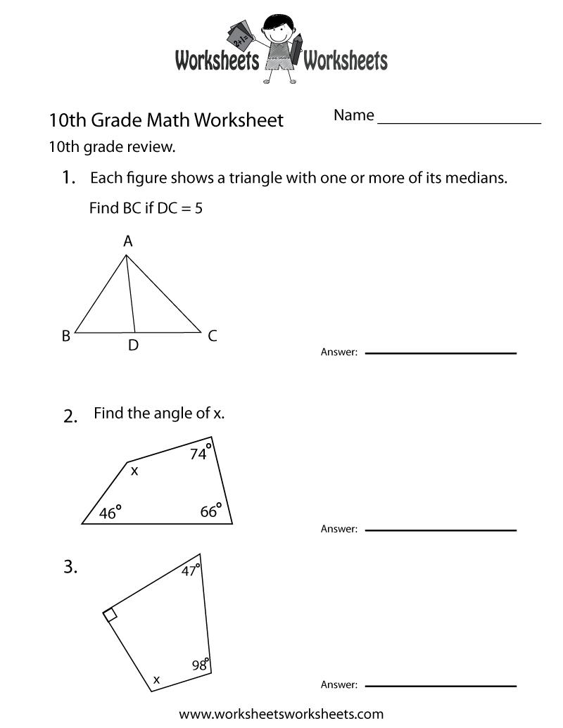 10Th Grade Math Review Worksheet Printable | Math Tutoring - Free | Free Printable Portuguese Worksheets