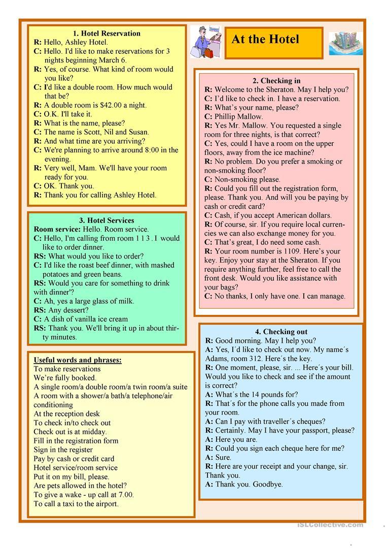 18 Free Esl At The Hotel Worksheets | Hospitality Worksheets Printable