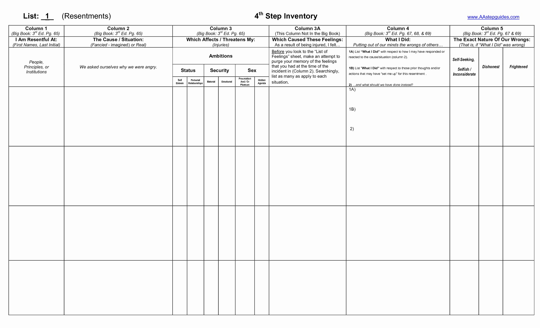 20 Aa 5Th Step Worksheet – Diocesisdemonteria | Printable Aa Step Worksheets