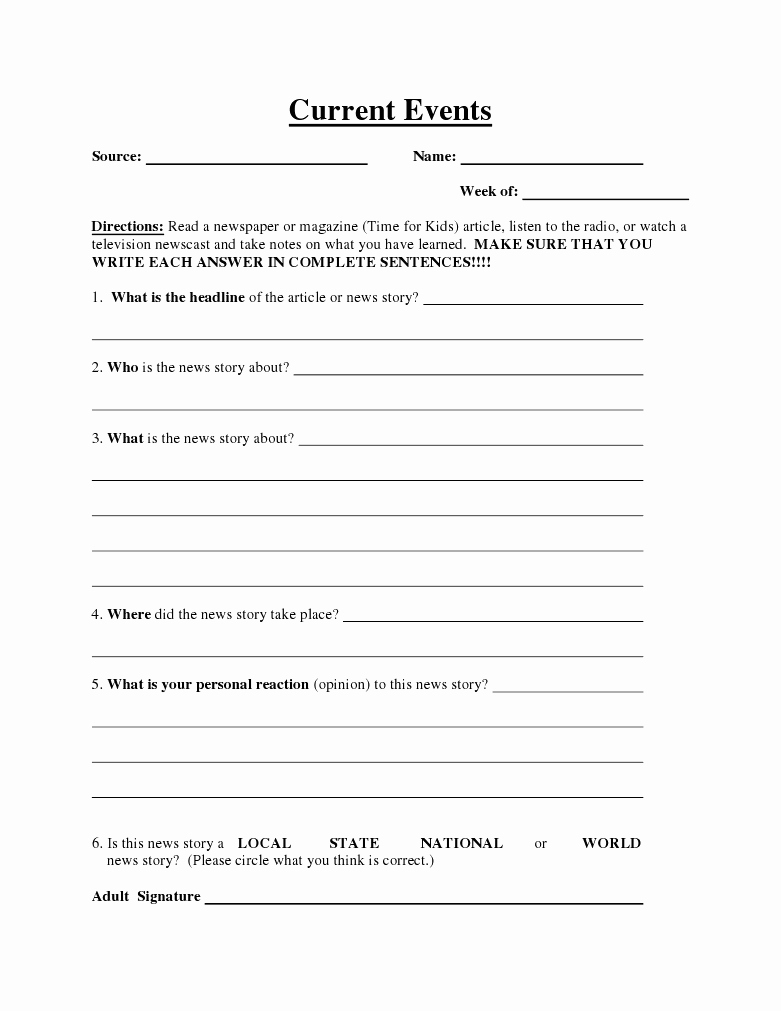 20 Free Current Events Worksheets – Diocesisdemonteria | Current Events Printable Worksheet