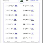 24 Printable Order Of Operations Worksheets To Master Pemdas! | Order Of Operations Free Printable Worksheets With Answers