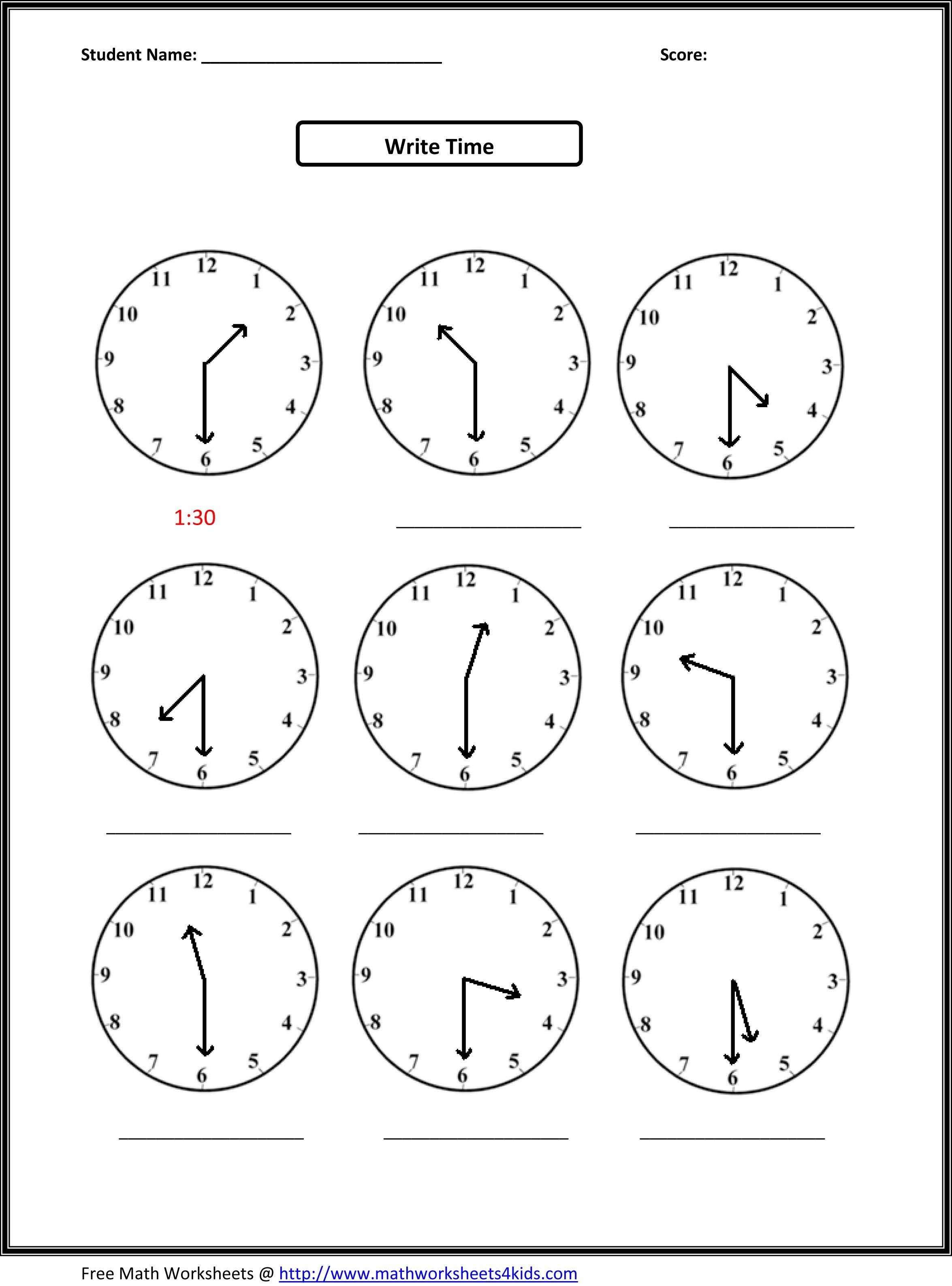 2Nd Grade Free Worksheets Math | Math: Time/measurement | 2Nd Grade | Second Grade Printable Worksheets