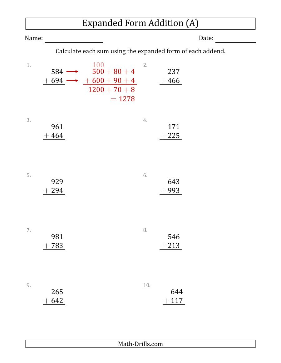 3-Digit Expanded Form Addition (A) - Free Printable Expanded   Free Printable Expanded Notation Worksheets