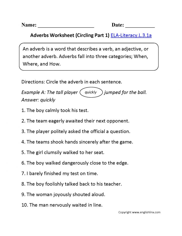 Language Worksheets For 3Rd Grade Printable