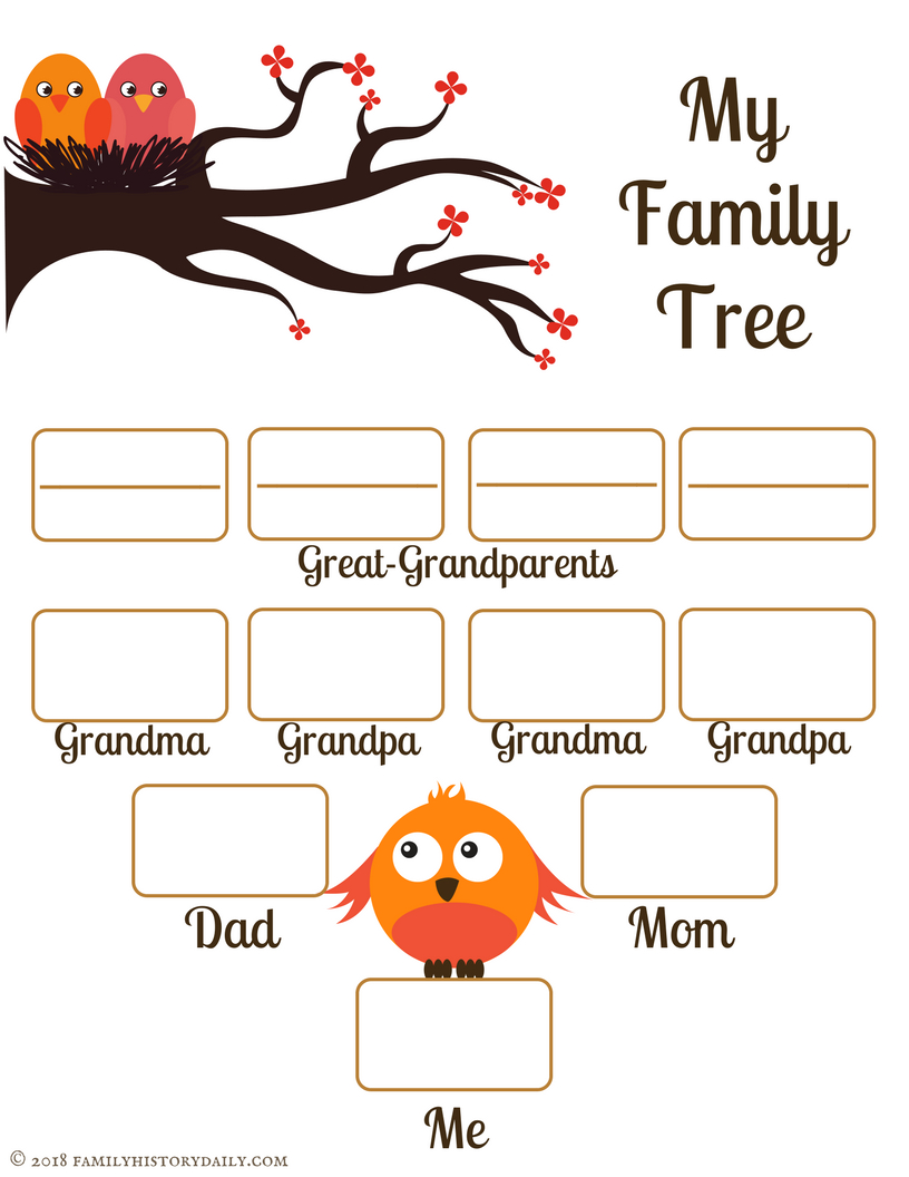 4 Free Family Tree Templates For Genealogy, Craft Or School Projects | My Family Tree Free Printable Worksheets