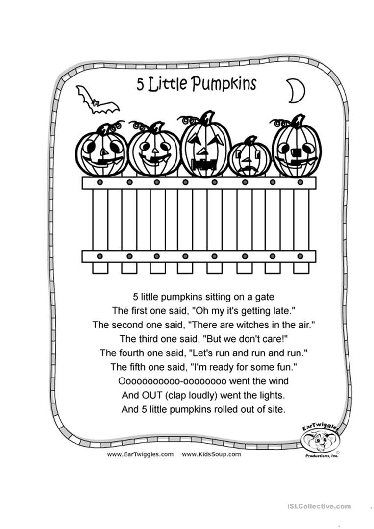 5 Little Pumpkins Worksheet - Free Esl Printable Worksheets Made   Five Little Pumpkins Printable Worksheet