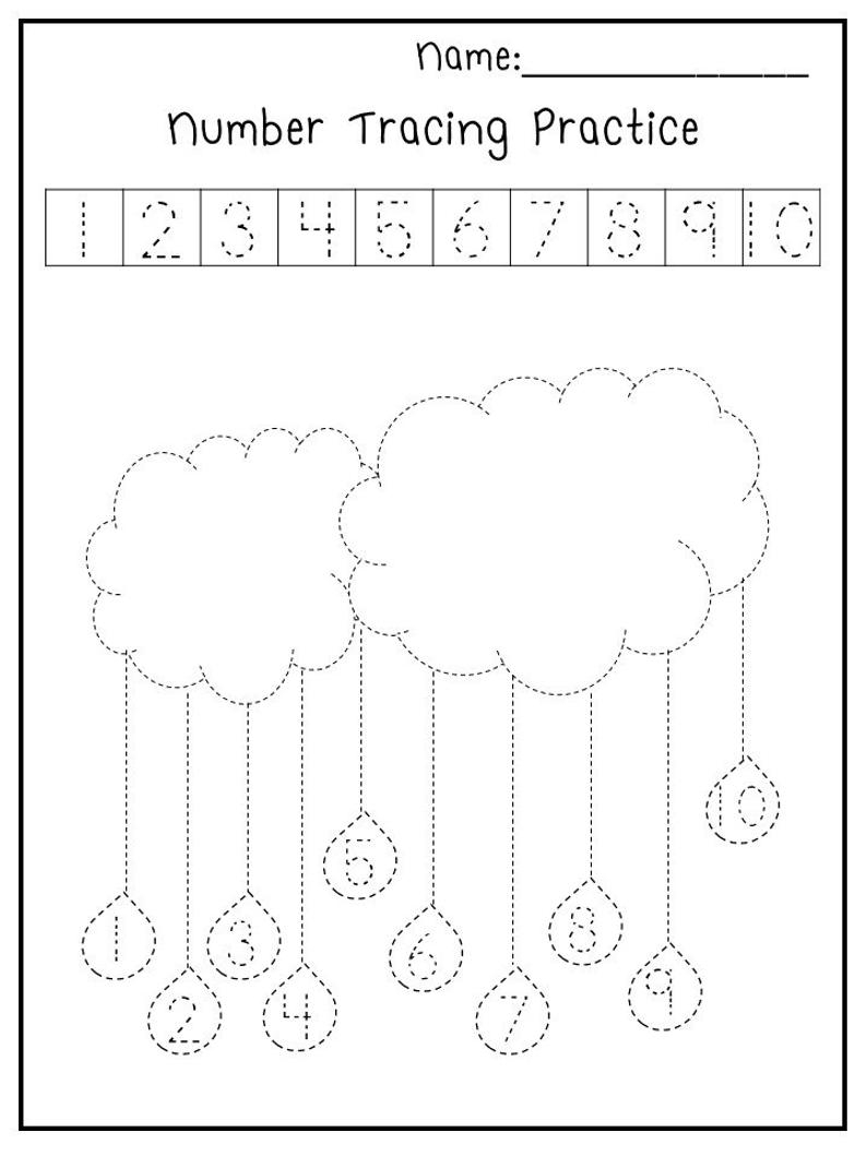 5 Printable Spring Trace The Numbers Worksheets. | Etsy | Spring Printable Worksheets