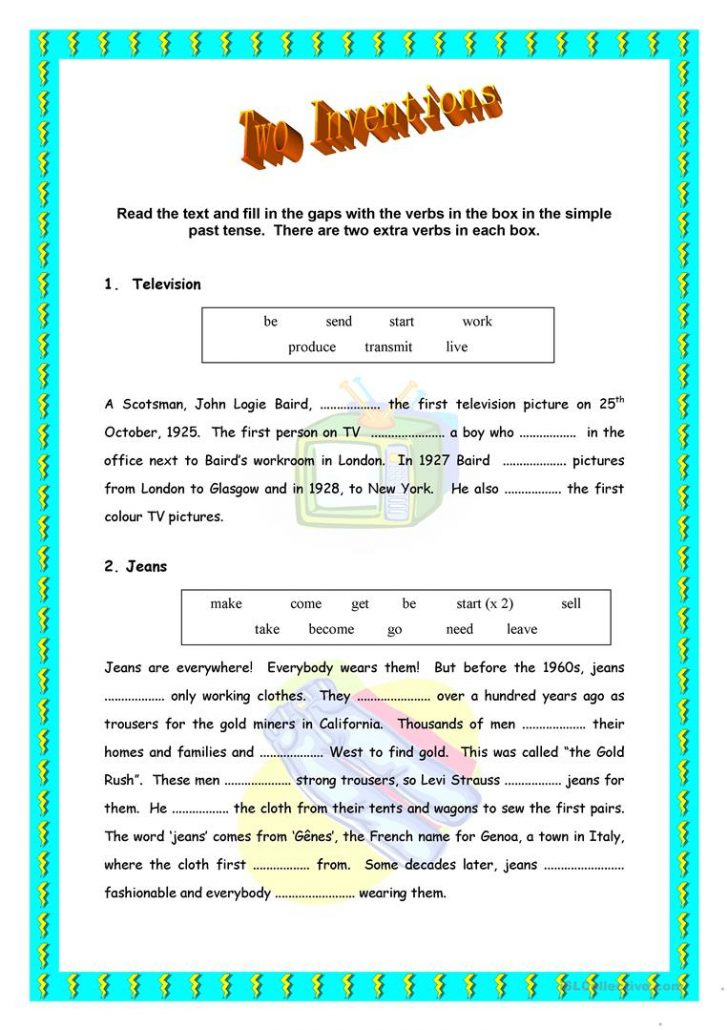 Inventions Printable Worksheets