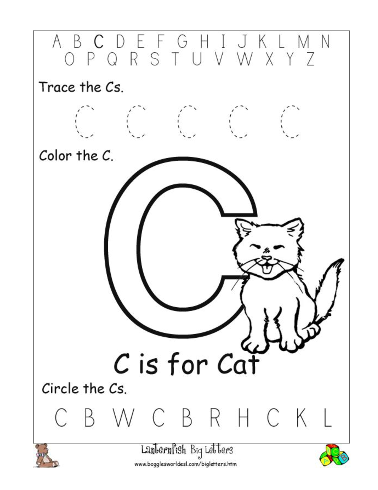 6 Best Images Of Free Printable Preschool Worksheets Letter C | Day | Letter C Printable Worksheets