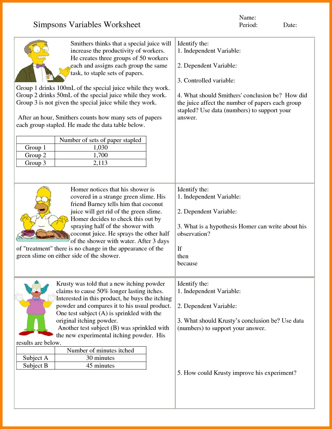 6Th Grade Hypothesis Worksheet Refrence 7 Independent And Dependent   Science Worksheets Ks2 Printable