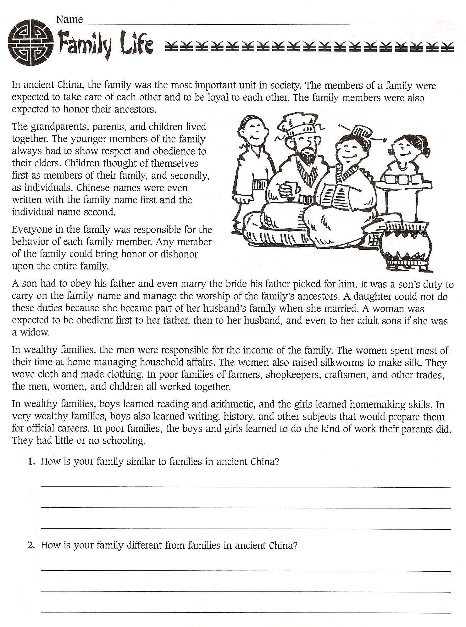 6Th Grade Social Studies Ancient China Worksheets - Free | Ancient China Printable Worksheets