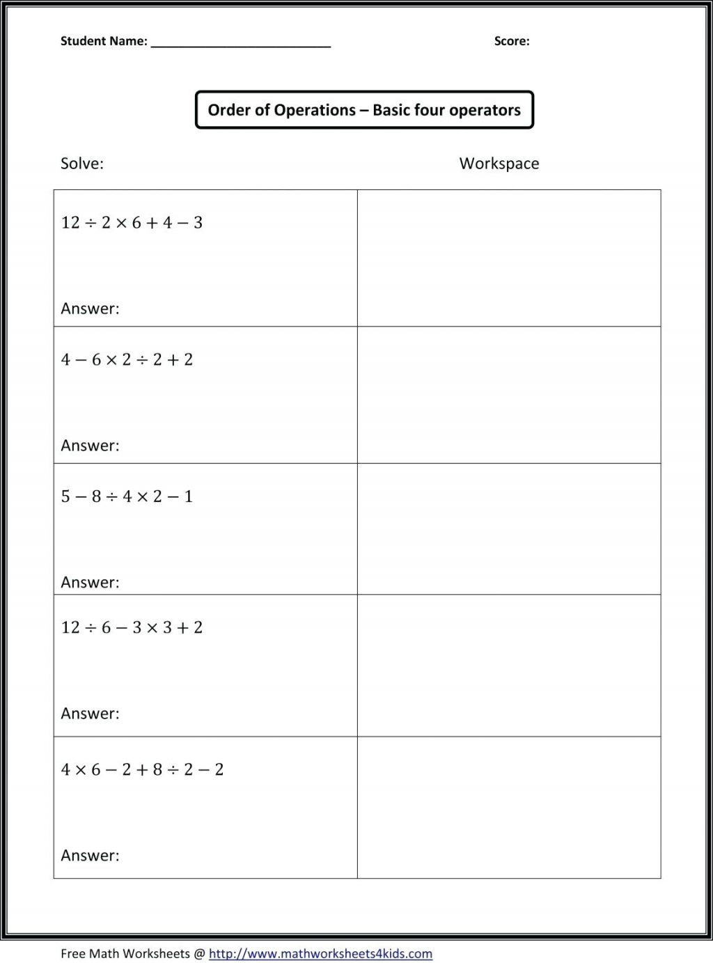 7Th Grade Math Pemdas Worksheets Rule Order Of Operations Tiktokcook   Printable Pemdas Worksheets