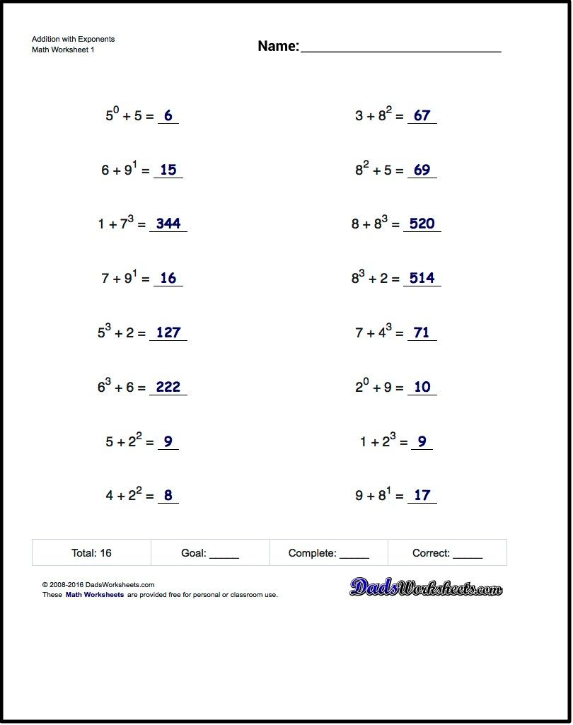 Adding Exponents Worksheets, Including Simple Problems Where - Free   Free Printable Math Worksheets 6Th Grade Order Operations