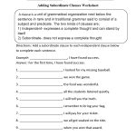 Adding Subordinate Clauses Worksheet   Englishlinx Board   Printable Grammar Worksheets For Middle School