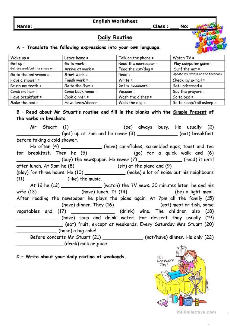 Adults' Daily Routine Worksheet - Free Esl Printable Worksheets Made | Printable Worksheets For Adults