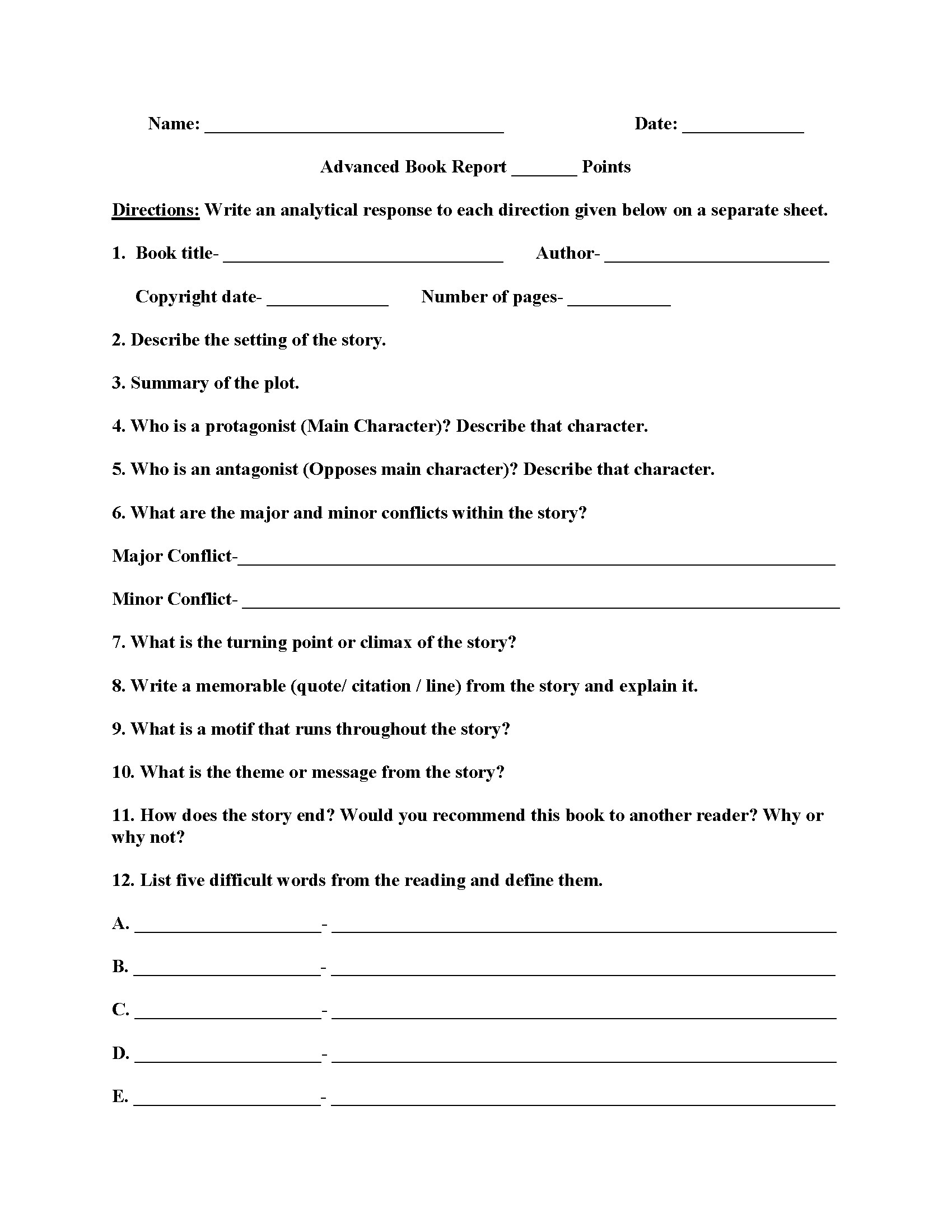Advanced Book Report Worksheets | English | Book Report Templates | Printable Book Report Worksheets