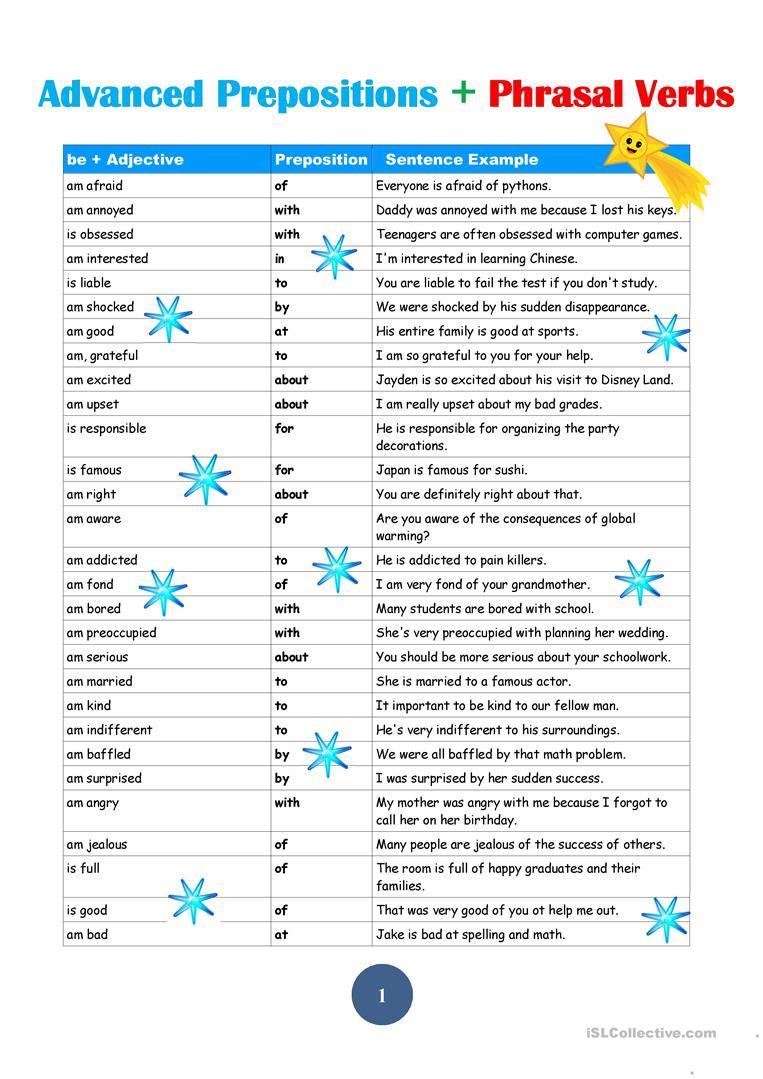 Advanced Prepostions Worksheet - Free Esl Printable Worksheets Made | Advanced Esl Grammar Printable Worksheets
