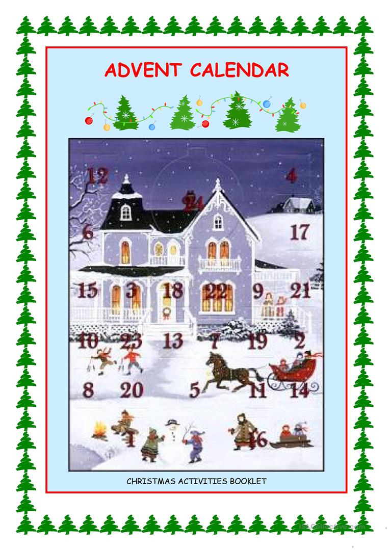 Advent Calendar - Christmas Activities Worksheet - Free Esl | Advent Printable Worksheets