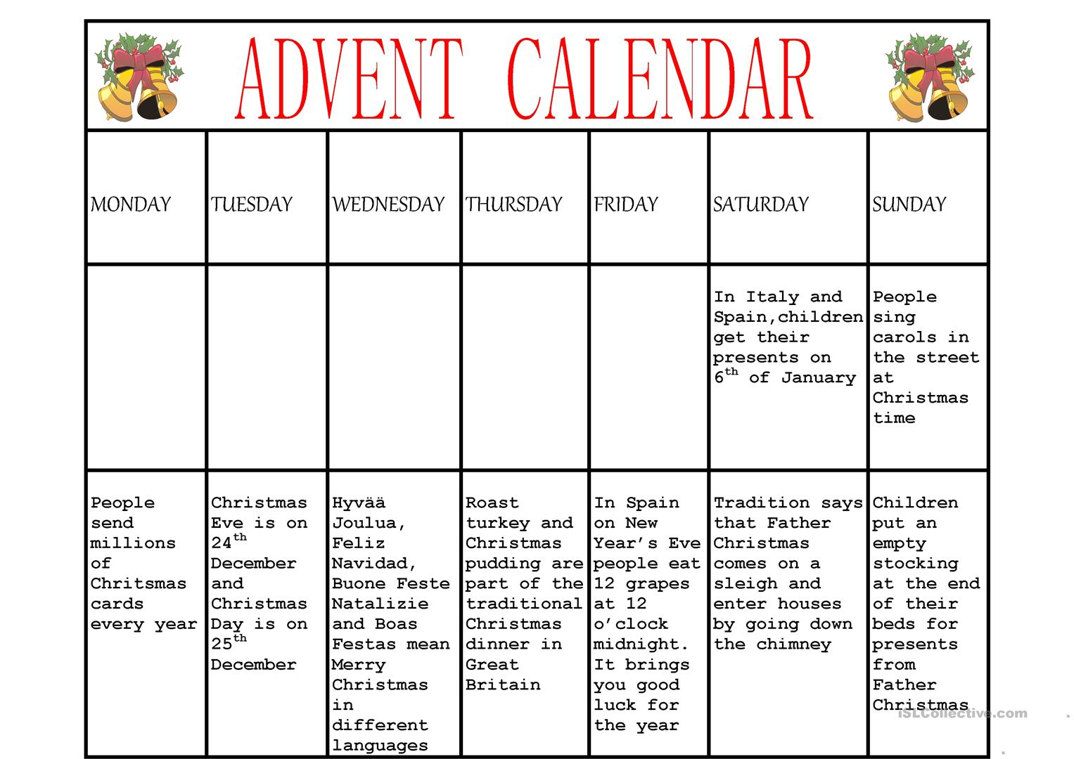 Advent Calendar Worksheet - Free Esl Printable Worksheets Made | Advent Printable Worksheets