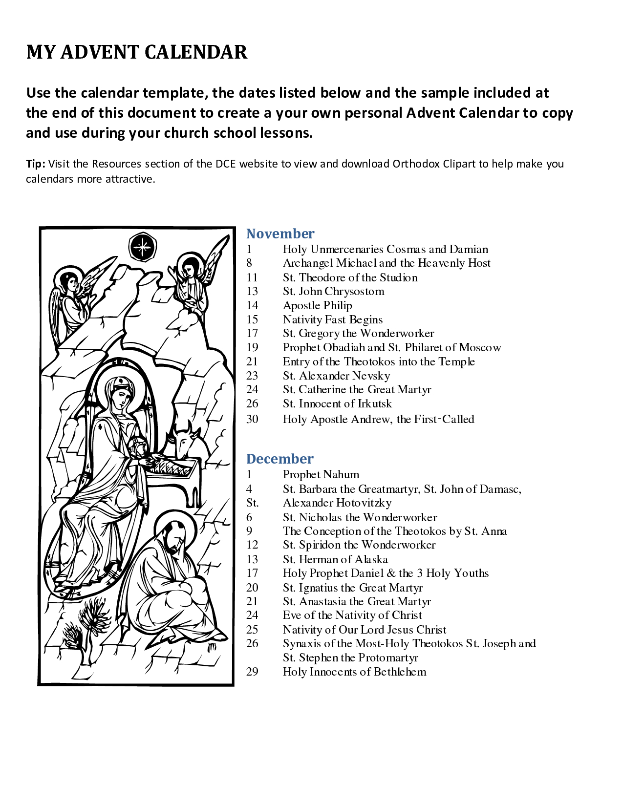 Advent+Printable+Calendar+Templates | Advent Traditions Catholic | Advent Printable Worksheets