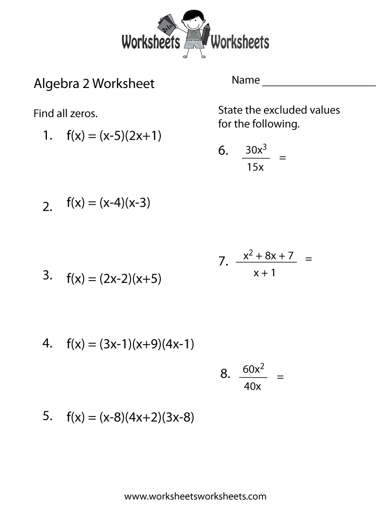 Algebra 2 Practice Worksheet Printable | Algebra Worksheets | Printable Algebra Worksheets