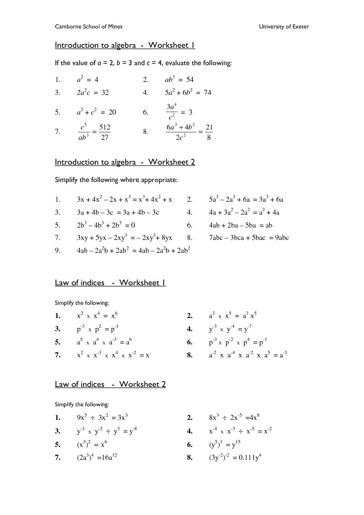 Algebra: Algebra Worksheets High School The Best Image Collection | Printable Algebra Worksheets High School