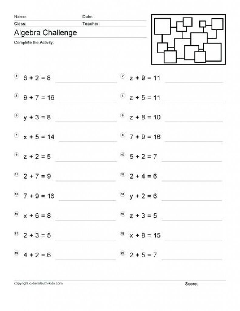 Algebra: Fabulous Free Printable Worksheets For Grade Image Ideas | Free Printable Algebra Worksheets Grade 6