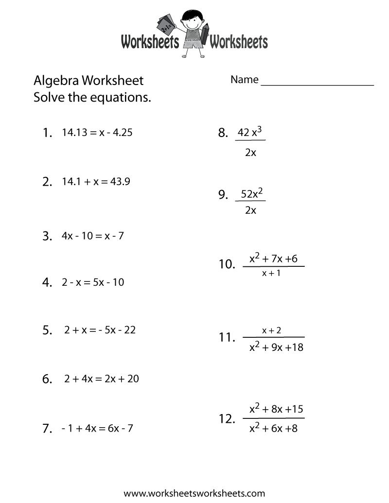 Algebra Practice Worksheet Printable | Algebra Worksheets | Algebra | Free Printable Pre Algebra Worksheets