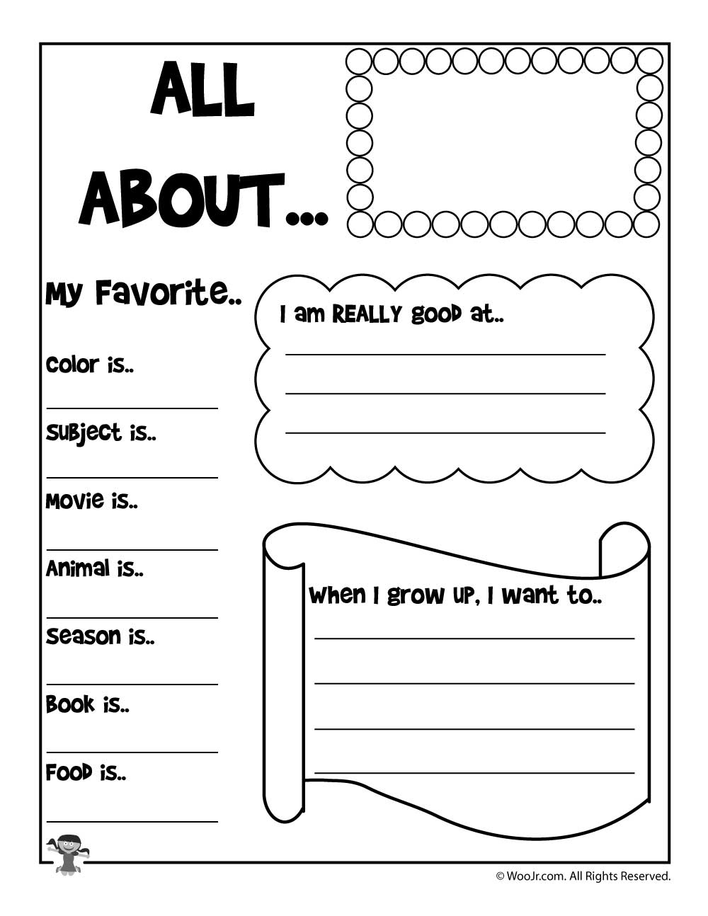 All About Me Printable Worksheet | Woo! Jr. Kids Activities | All About Me Worksheet Preschool Printable