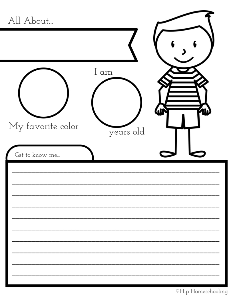 All About Me Worksheet: A Printable Book For Elementary Kids | All About Me Worksheet Preschool Printable