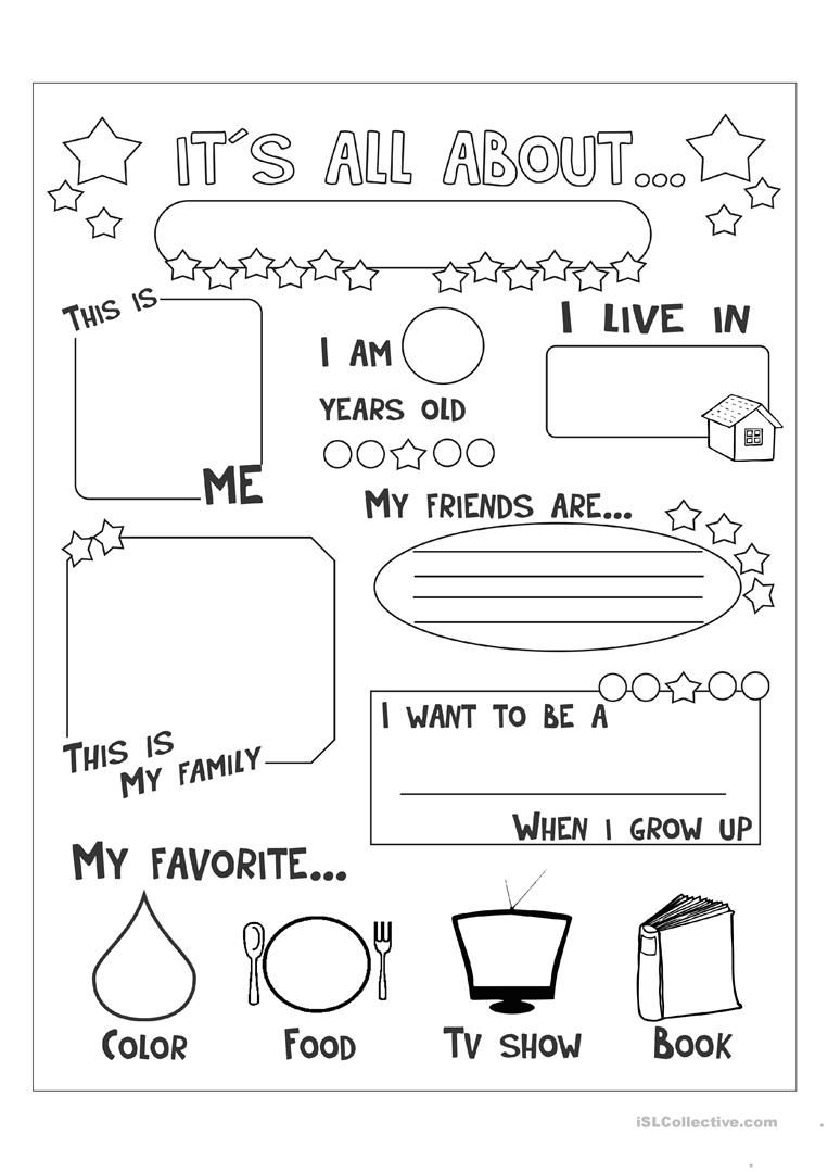 All About Me Worksheet - Free Esl Printable Worksheets Made | All About Me Worksheet Preschool Printable