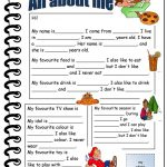 All About Me Worksheet   Free Esl Printable Worksheets Madeteachers | All About Me Printable Worksheets
