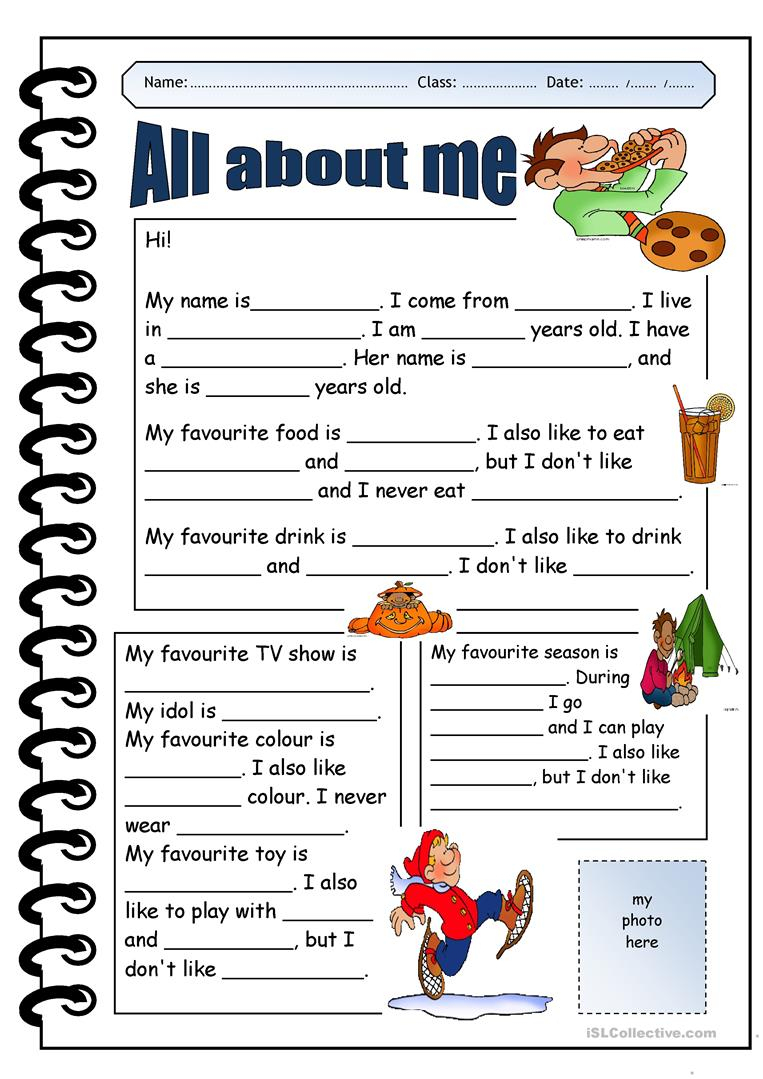 All About Me Worksheet - Free Esl Printable Worksheets Madeteachers | All About Me Printable Worksheets