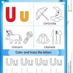 Alphabet Learning And Color Letter U Stock Illustration | Learning Colors Printable Worksheets