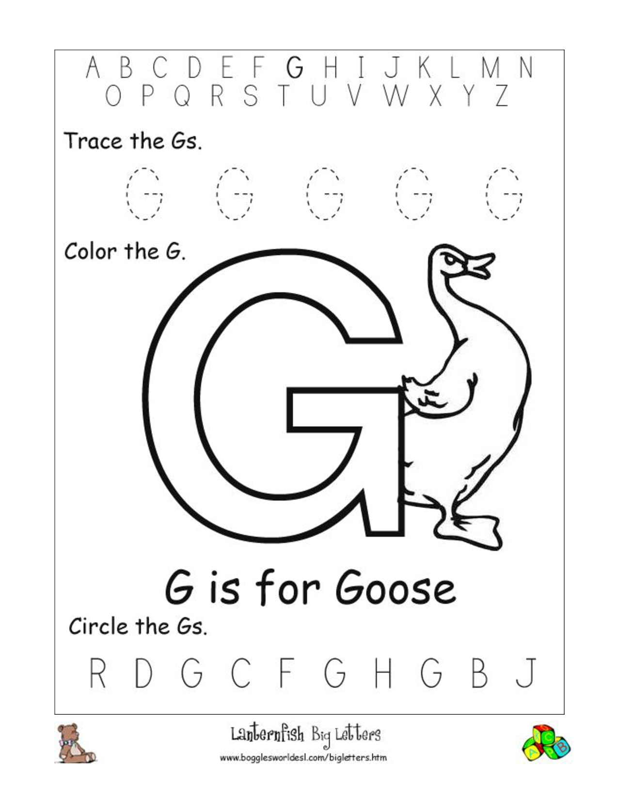 Alphabet Worksheets For Preschoolers | Alphabet Worksheet Big Letter | Letter G Printable Worksheets