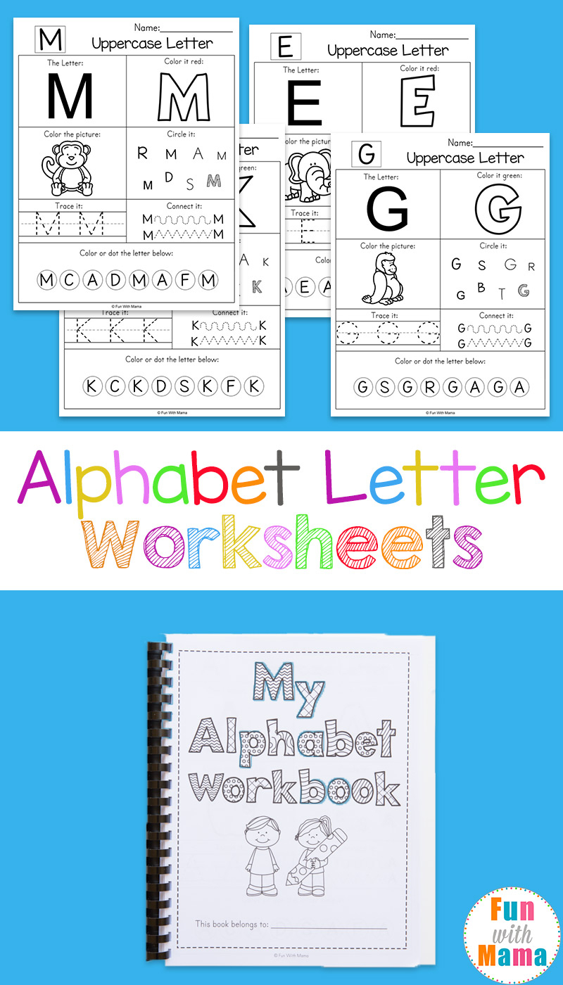 Alphabet Worksheets - Fun With Mama   Printable Worksheets For Preschoolers The Alphabets