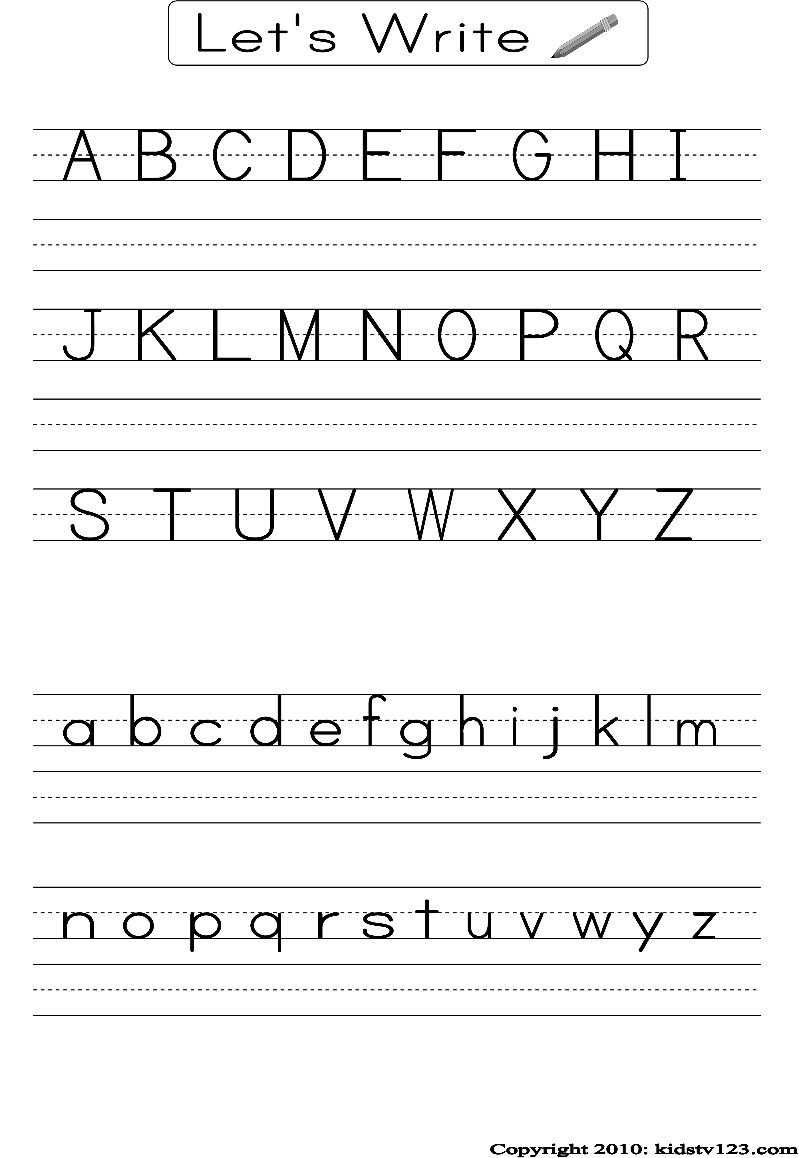 Alphabet Writing Practice Sheet | Edu-Fun | Alphabet Worksheets | Printable Alphabet Handwriting Worksheets