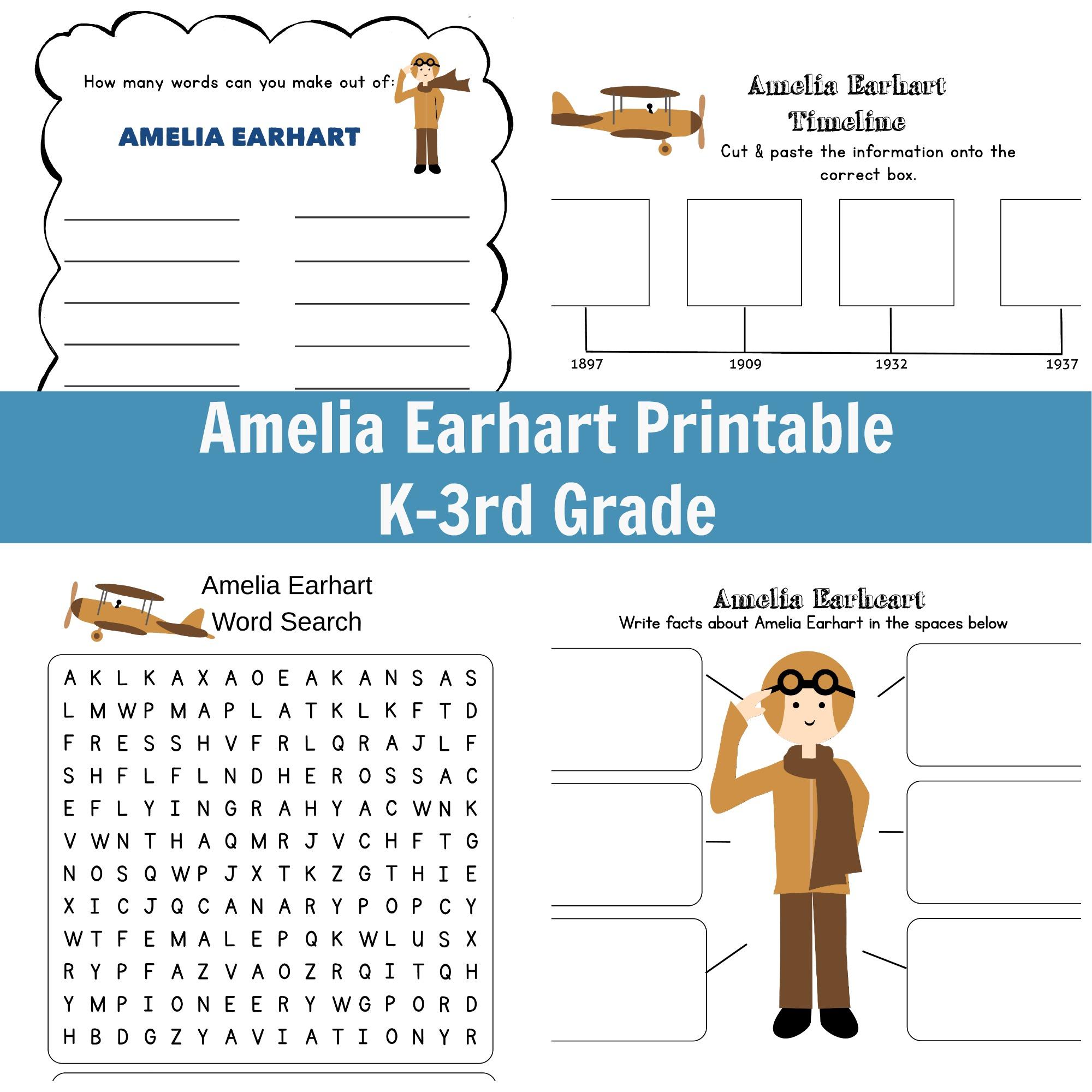 Amelia Earhart Printable - Grades K-3   Amelia Earhart Free Worksheets Printable