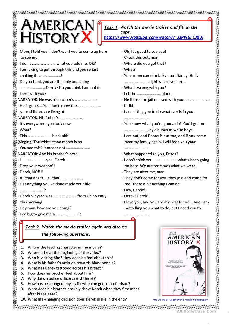 American History X (Movie Trailer) Worksheet - Free Esl Printable | Free Printable Us History Worksheets