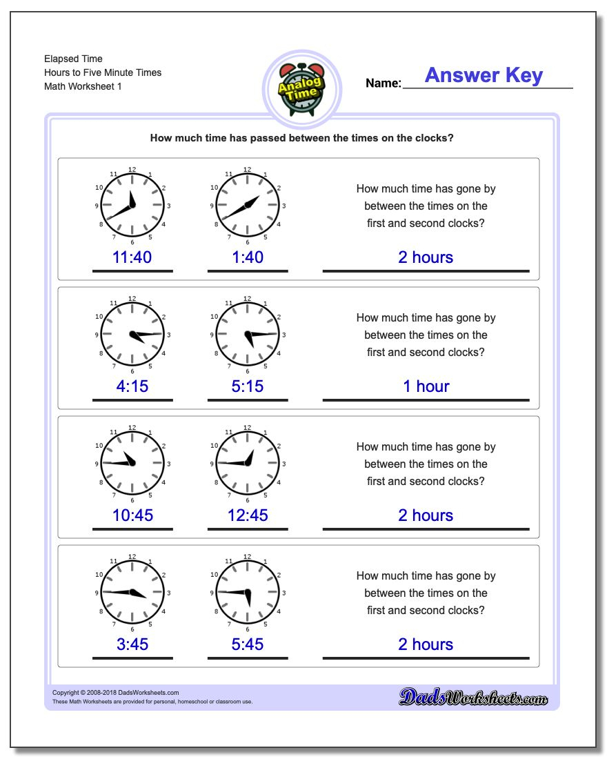 Analog Elapsed Time | Elapsed Time Worksheets Free Printable