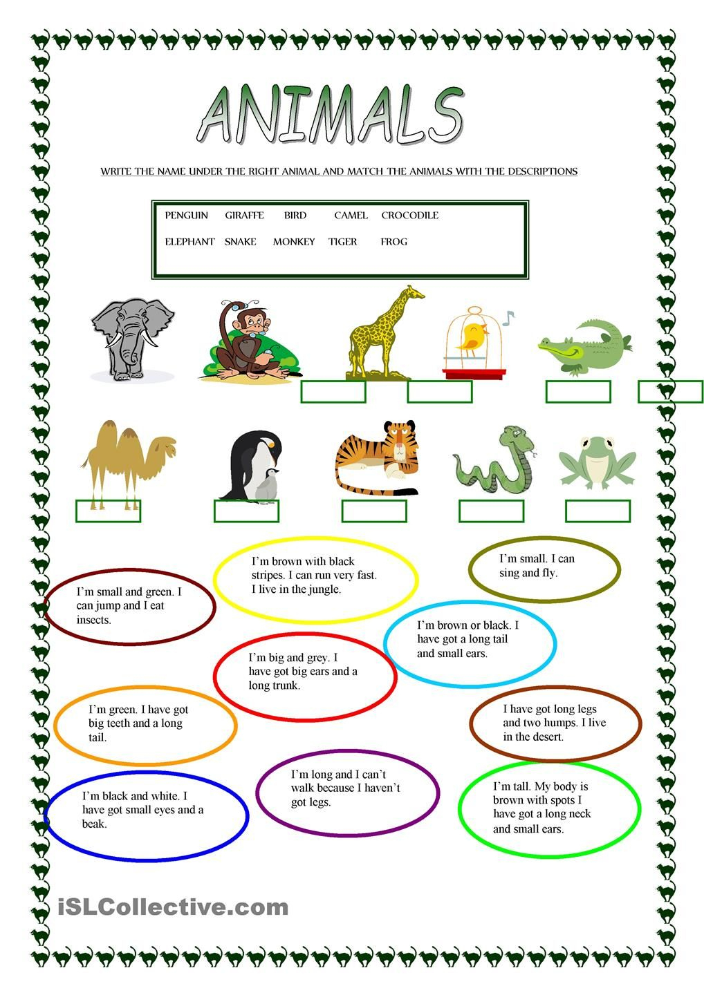 Animals | Free Esl Worksheets | Teachers Resources | Animal | Los Animales Printable Worksheets