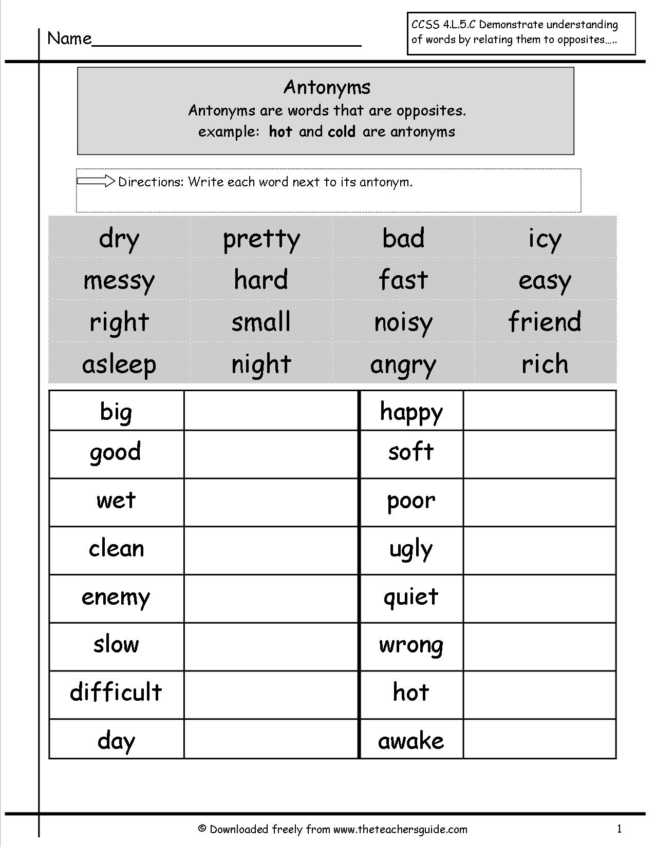 Antonyms And Synonyms Worksheets From The Teacher's Guide | Free Printable Antonym Worksheets