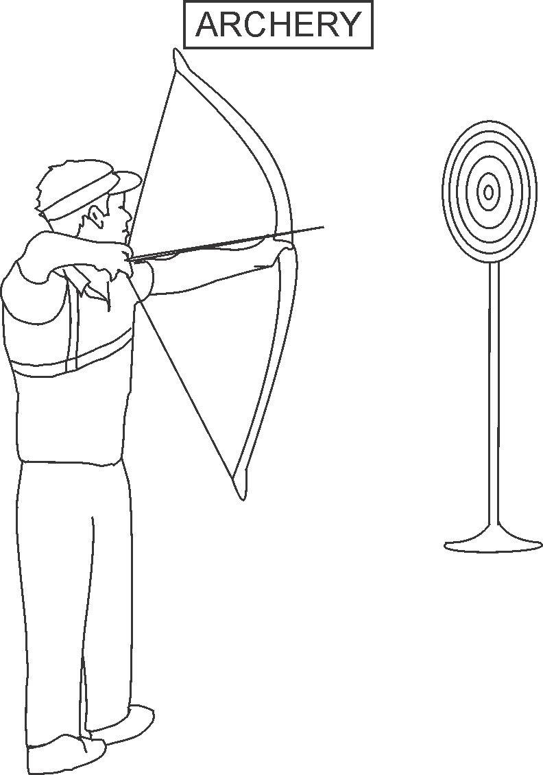 Archery Coloring Printable Page For Kids | Archery Printable Worksheets