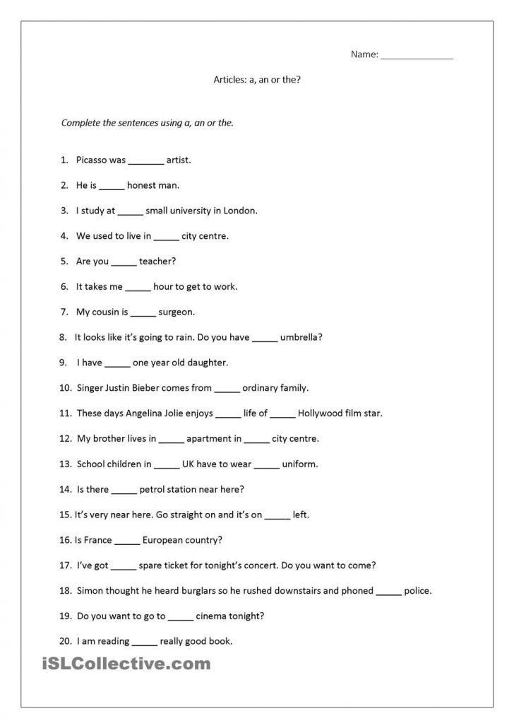 Free Printable Worksheets On Articles For Grade 1