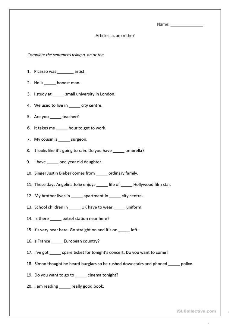 Articles Worksheet (A, An, The) Includes Answers. Worksheet - Free | Grammar Worksheets High School Printables